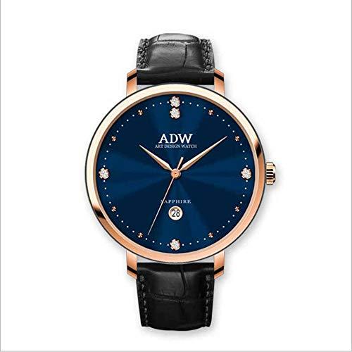 Rebily 2021 Fluyendo Planeta Air Señoras Reloj Rosa Gold Cuero Band Watch Simple Style Quartz Women Fashion Watch 30m Impermeable (Color : Azul)