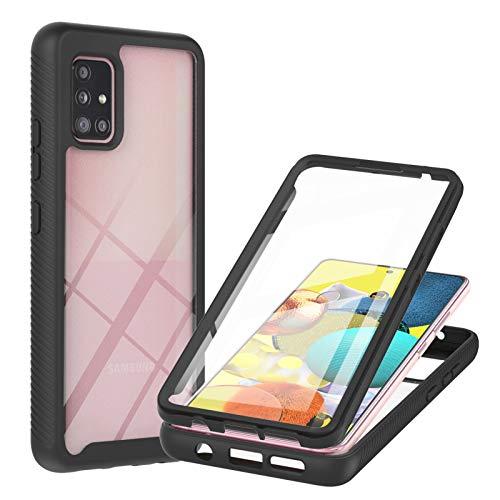 SHHIIA Capa para Samsung Galaxy A51 5G, protetor de tela integrado, capa protetora de 360°, policarbonato rígido/TPU de silicone ultrafino, capa protetora durável e removível à prova de choque. Preta