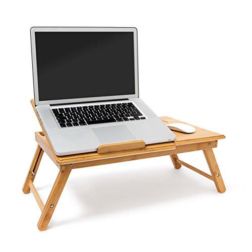 Relaxdays Betttablett Bambus höhenverstellbar HBT 30,5 x 72,5 x 35 cm Laptop Tisch für Notebook mit Leseklappe als Laptopständer klappbar mit Ablage für Maus und Bücher als Notebookständer, natur