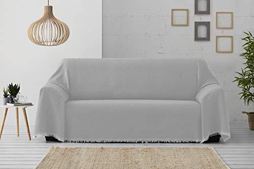 Textilhome - Foulard Multiuso Salvadivano Copridivano Dante 230x285 cm - Copriletto Leggero. Colore Perlato