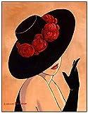 HHLSS Photos murales 30x50 cm sans Cadre Moderne élégant Dame Chapeau Haut de Forme Fille Enfants Chambre café Bar Maison Art décor Photos