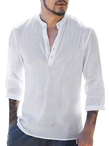 Gemijacka Herren Leinenhemd Henley Freizeithemd 3/4 Ärmellänge & Kurzarm Regular Fit Kragenloses Shirt, Weiß, XXL