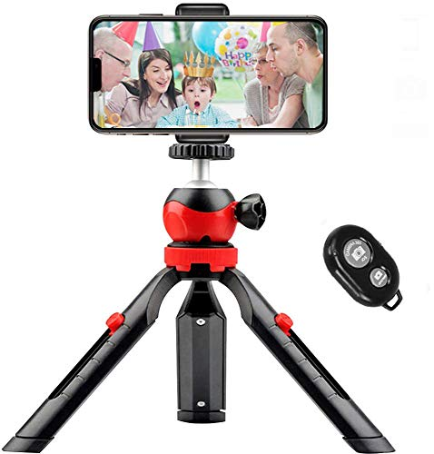 Mini Phone Tripod, Small Tabletop Tripod for GoPro iPhone / Cell Phones Webcam Projector Compact DSLR with Remote Control and Universal Mount Holder, 360° Rotating Metal Ball Head