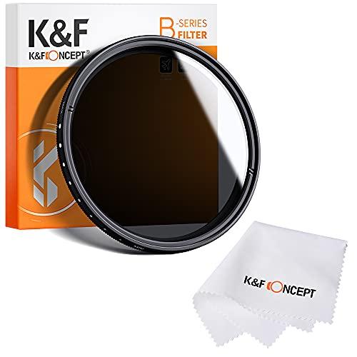 K&F Concept® Slim HD Neutrale Dichte Graufilter 77mm Variabler ND Filter ND2 ND400 mit Reinigungstuch