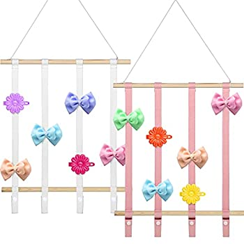 2 Pieces Hair Bow Holder Organizer Headbands Storage Holder Hair Clips Display Organizer Hair Accessories Hanging Organizer for Baby Girls Women Wall Home Decoration 2 Colors