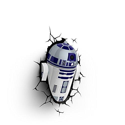 Luz de noche niños LED – Lámapara Star Wars R2-D2 – Estrella de la Muerte – 3D Light FX - Luz de pared con minutero y pegatina de pared – Funciona con Pilas