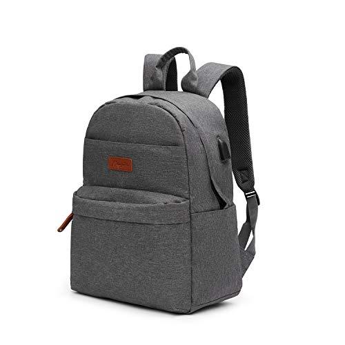 Kkomforme Laptop Rucksack, Herren&Damen Laptoprucksack mit 15,6 Zoll Laptopfach, Schulrucksack mit USB Ladeanschluss für Arbeit Schule Jungen 26L (Grau)