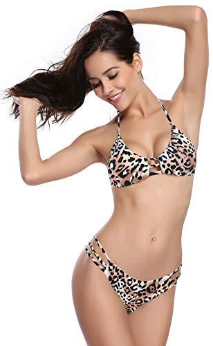 SHEKINI Donna Sexy Bikini Cutout Brasiliano Vintage Stampati Halter Due Pezzi Costumi da Bagno Donna con Vita Bassa Triangolo Fondo Bikini (X-Large, Leopardato)