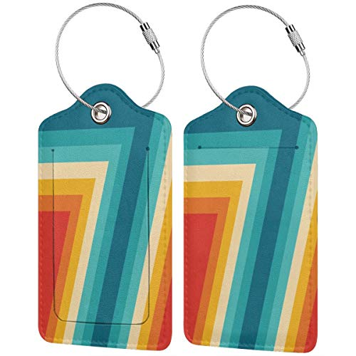 Etiquetas de equipaje de diseño abstracto de rayas retro coloridas para maleta,...