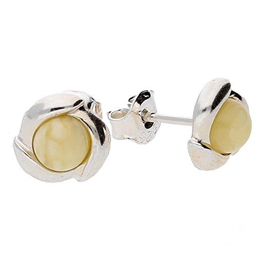 Crema ambra baltica orecchini a perno in argento Sterling 925.kab-116