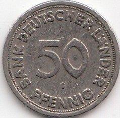 BRD (BR.Deutschland) Jägernr: 379 1949 J sehr schön Kupfer-Nickel 1949 50 Pfennig Bank Deutscher Länder (Münzen für Sammler)