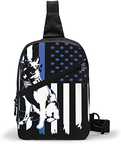 Schultertasche mit Polizeihund, amerikanische Flagge, Schultertasche, Brusttasche, Outdoor, Wandern, Reisen, persönliche Tasche für Damen und Herren, wasserabweisend