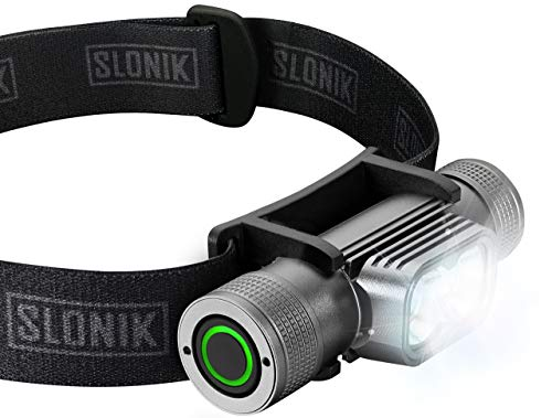 SLONIK Rechargeable Headlamp for Adults 1000 Lumens Super Bright 600 ft Beam LED Headlamp 2200mAh Battery  Lightweight, Heavy-Duty, IPX8 Waterproof Hard Hat Light  Camping, Running Headlight (Black)