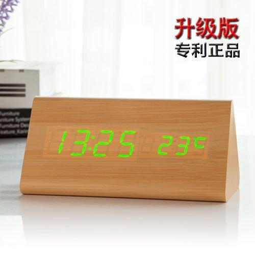 Como houten wekker met led, creatief, persoonlijkheid van de leerlingen, minimalistisch, elektronisch, mute-retro, nachtkastje, wekker, tafel, hout, Delta Green Field