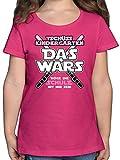 Einschulung und Schulanfang - Das Wars Kindergarten Rosa - 128 (7/8 Jahre) - Fuchsia - Kinder Tshirt mädchen - F131K - Mädchen Kinder T-Shirt