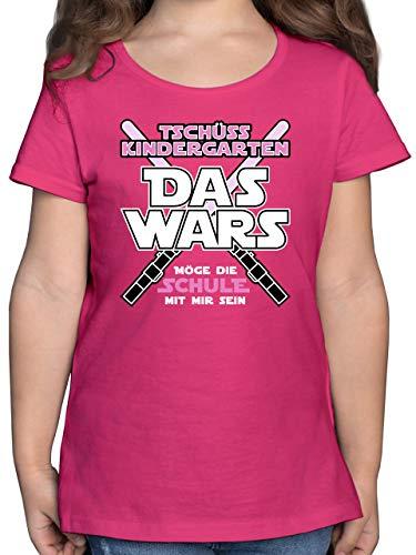 Einschulung und Schulanfang - Das Wars Kindergarten Rosa - 128 (7/8 Jahre) - Fuchsia - t-Shirt Kinder schwarz - F131K - Mädchen Kinder T-Shirt