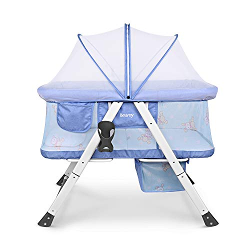 Besrey 2 in 1 Travel Cot Bassinet for Baby Kids with Swing...