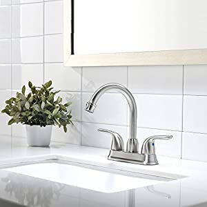 VESLA HOME Commercial Contemporary Two Handle Stainless Steel Bathroom Faucet,Brushed Nickel Bathroom Faucets Without Pop Up Drain