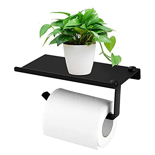 FOUVIN Portarrollos de papel higiénico, sin agujeros, color negro, autoadhesivo, con bandeja, aluminio mate y acero inoxidable, para cuarto de baño