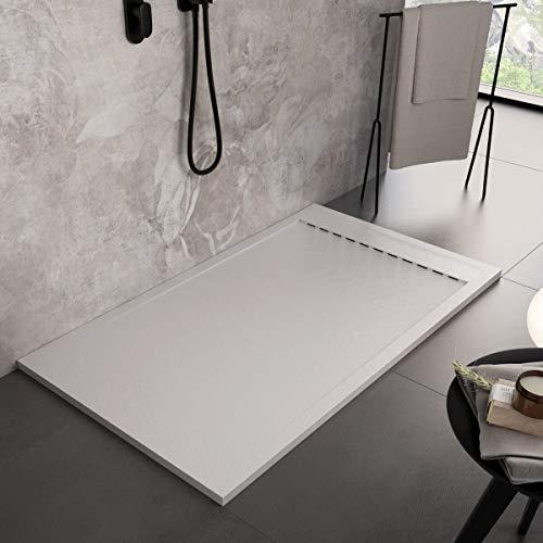 Luminosa Arredo Bagno Plato de ducha de resina de 160 x 70 cm – Efecto piedra antideslizante con Gelcoat – Modelo Luxury Blanco – Rejilla de color liso y desagüe incluidos