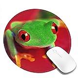 Kleine runde Mauspad 7.9X7.9inch Lustige Frosch Bild rutschfeste Gummi Desktop Arbeitsmaus Matte Gaming Computer PC Mousepad für zu Hause / Büro