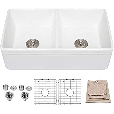 33 Farmhouse Sink Lordear 33 Inch Kitchen Sink Double Bowl Apron Front White Porcelain Ceramic Fireclay Kitchen Farm Sink Basin Amazon Com