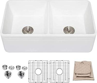 33 Farmhouse Sink Lordear 33 Inch Kitchen Sink Double Bowl Apron Front White Porcelain Ceramic Fireclay Kitchen Farm Sink Basin