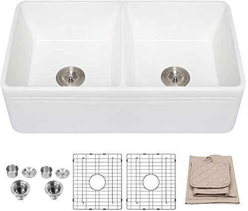 33 Farmhouse Sink - Lordear 33 inch Kitchen Sink Double Bowl Apron Front White Porcelain Ceramic Fireclay Kitchen Farm Sink Basin