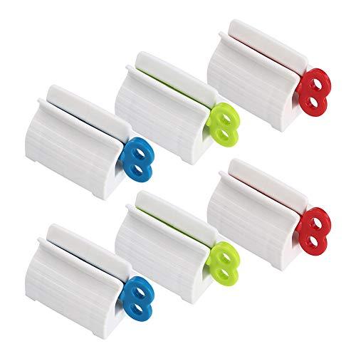 JUHONNZ Zahnpastaspender,6 Rolling Tubenquetscher zahnpasta quetscher zahnpasta quetscher für Zahnpasta Sitzhalter Cremesalbe und Pastenhalter Mehrzweck Rot Blau Grün