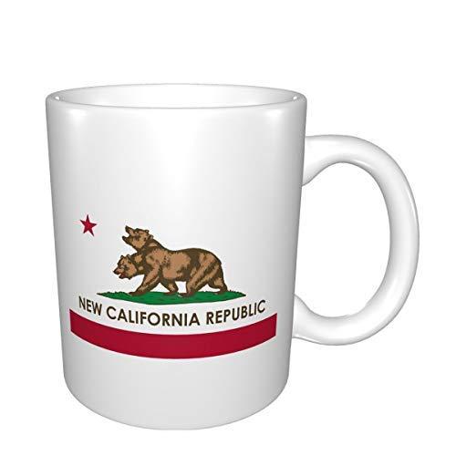 Taza blanca de doble cara con impresión de la República de California, taza de café interesante, exquisita taza de té, taza de cerámica, taza de café de 325 ml
