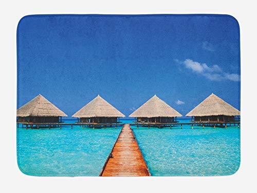 Tappetino da bagno con paesaggio, molo delle Maldive con acque limpide, natura tropicale, design polinesiano, tappetino da bagno in peluche con retro antiscivolo, turchese azzurro