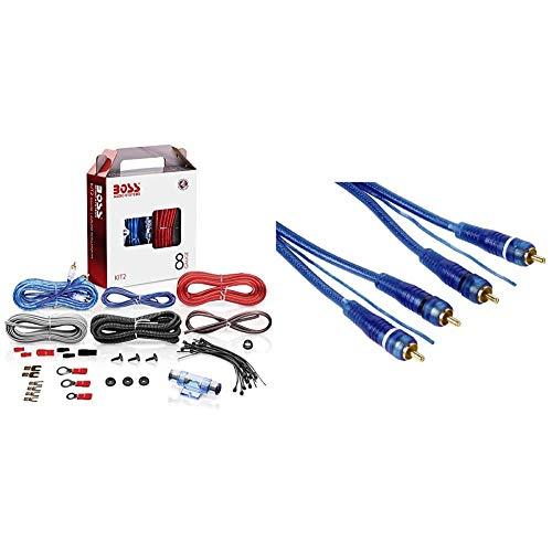 BOSS AUDIO KIT2 8 Gauge/ 3,27 mm Auto Installations-Set Verstärker Endstufe Kabel Anschlusskabel Cinch Kabel, Mehrfarben & Hama Cinch-Kabel, 2 Stecker - 2 Stecker, mit Remoteleitung, 5 m, Blau