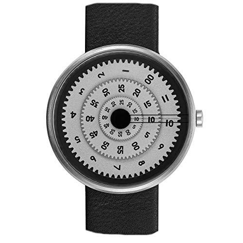 Projects Watches Vault Quarz Edelstahl Gebürstet Grau Leder Schwarz Unisex Disc Uhr
