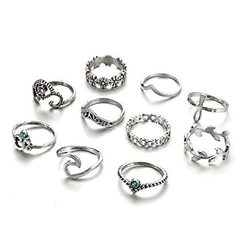 Zealmer Gudukt Statement Knuckle Ring Set Vintage Crown Chevron Egyptian Ankh Yoga Wave Sun Joint Knuckle Rings
