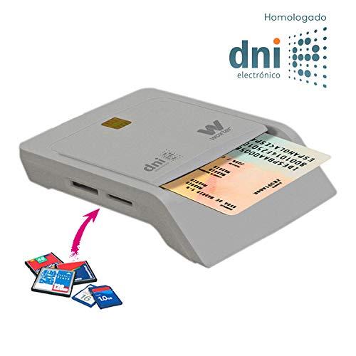 Woxter Lector DNI Electrónico Combo Blanco - Lector de DNIe, DNI 3.0, Tarjetas SD, MMC, MS, MSPro, XD, Micro SD, etc… Compatible con PC y MAC