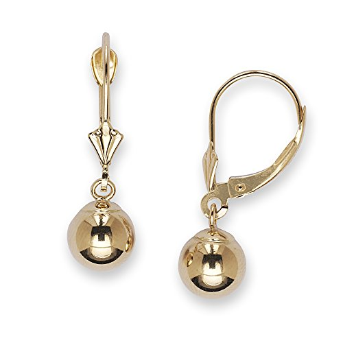 JewelryWeb 14k Yellow or White Gold Dangling Shiny Polished Ball Lever-Back Earrings for Women and Girls (4 Sizes) (Yellow-Gold, 6.0)