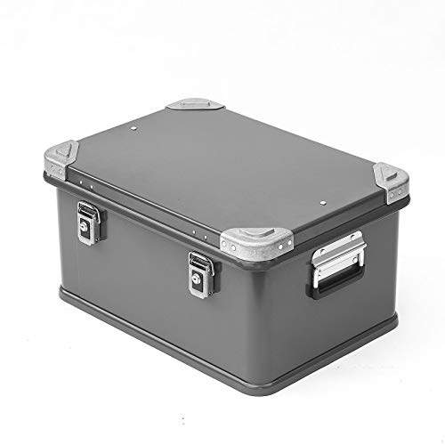 BOXES GGYMEI Retro storage box, Large capacity with lock double handle Suitable for clothes jewelry cosmetic storage Aluminum, 3 colors 2 sizes (Color : Gray, Size : 50x35x25cm)
