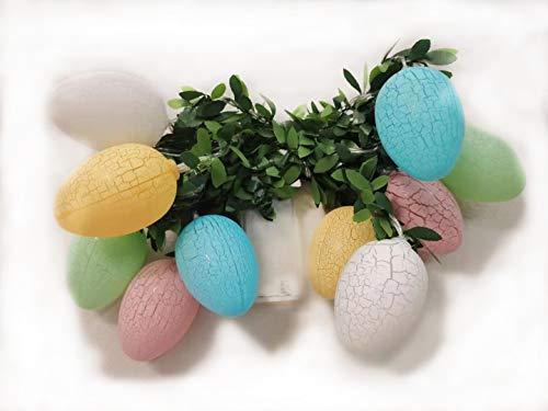 U/K Guirlande Lumineuse en Forme d'oeuf de Feuille de Plante de Pâques, LED en Forme d'oeuf de Pâques, utilisée pour la décoration de Chambre à Coucher, intérieure et extérieure.
