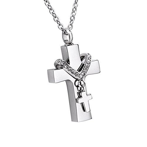 K-Y - Collar con colgante de urna en forma de cruz de...
