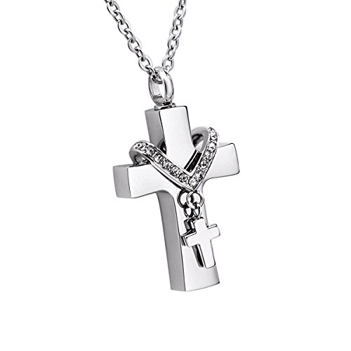 Double Cross Memorial Urn Pendant Necklace Cremation Jewelry Stainless Steel Inlaid Rhinestone 22' Chain