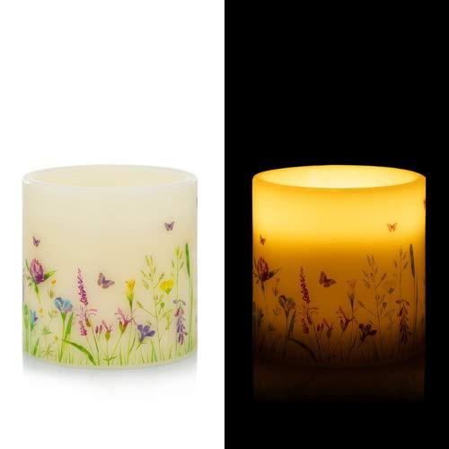 LED Kerze aus Echtwachs - Bodenkerze XXL mit Timer, Flackereffekt und täuschend echter Flamme - Deko für Frühling und Sommer