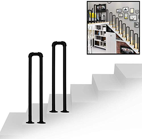 ZYANZ Indoor Or Outdoor Stair Railing, U-Shaped Safety Anti-Slip Wrought Iron Galvanized Pipe Railing, with Installation Kit Hand Rails for Outdoor Steps(Size:100cm(3.2ft))