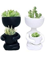 VIFERR Keramisk växtkruka, humanoid blomkruka för växter vas bonsai planterare kontor skrivbord dekor heminredning, 10 x 6 x 7 cm, sovrumstillbehör för tonårsflickor