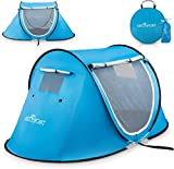 EFFORTLESS CAMPING – Pops open into a read-to-use form (auto-setup) in a blink & proves easy to fold into a compact form – Abco Pop up tent is ideal for casual camping and accommodates 1-2 persons. Like a beautiful spot enroute? Setup your tent insta...