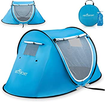 Pop-up Tent and Automatic Instant Portable Cabana Beach Tent - Suitable for Upto 2 People - Doors on Both Sides - Water-Resistant and UV Protection Sun Shelter - with Carrying Bag  Sky Blue