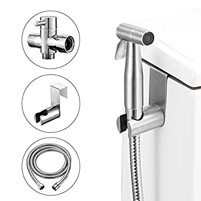 Handheld Bidet Sprayer Shattaf Kit - Fyrlleu Hand Held Faucet Spray Kit for Toilet Seat, Diaper Cleaning, Hygiene Front and Back Spa Washer&Pet Shower with 120CM Nickle Brushed Stainless Steel Hose