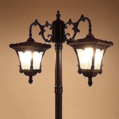 DERUKK-TY 2.55M Luz de Calle de Poste Alto IP65 Jardín Impermeable Linterna de Poste Alto Lámpara de Mesa de césped Negro E27 Puerta Tradicional Patio de Pared Lámpara de Exterior Colonial de Lujo