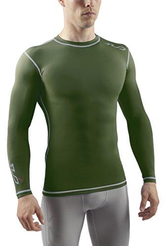Sub Sports, Maglietta a Compressione Uomo Biancheria Intima Tecnica Base Layer a Maniche Lunghe, Verde (Grün), S