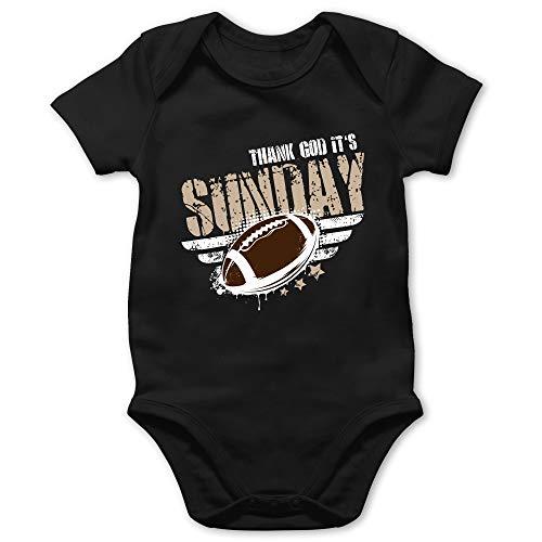 Sport Baby - Thank God Its Sunday Football - 18/24 Monate - Schwarz - Ballsport - BZ10 - Baby Body Kurzarm für Jungen und Mädchen
