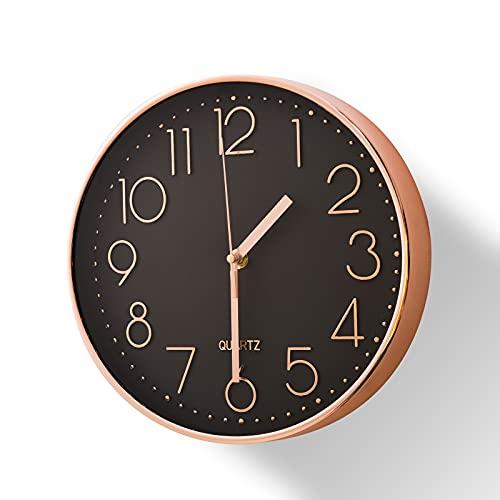 Delgeo Reloj de Pared de Oro Rosa,Decorativos de Pared,Reloj de Pared Silencioso Moderno para la Cocina de la Oficina en Casa (25 cm,Oro Rosa)